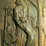 Siódma kwatera ilustruje przypowieści Jezusa o synu marnotrawnym (Łk 15, 11-24). Ojciec i syn, dwaj bohaterowie opowieści, znajdują się w centrum kompozycji. Skruszony syn padł właśnie na kolana przed starym ojcem. Ojciec nie tylko go nie odtrącił, lecz obiema rękami przygarnął do siebie. Ale nie patrzy na swe dorosłe dziecko; głowę wznosi ku niebu, jakby szukał Tego, kto sprawił, że syn powrócił. A syn klęczy wtulony w ojca, obie ręce, od dłoni aż po łokcie, złożył na ojcowskiej piersi, szukając oparcia w ojcu i prosząc  o wybaczenie. Wprost słychać jego szloch. A ojciec trwa nieruchomo w modlitwie dziękczynnej za to, że jego dziecko wyznało swój błąd. Słowa syna rzeźbiarz umieścił po lewej stronie: Pater, peccavi in coelum et coram te - Ojcze, zgrzeszyłem przeciw Bogu i względem ciebie...