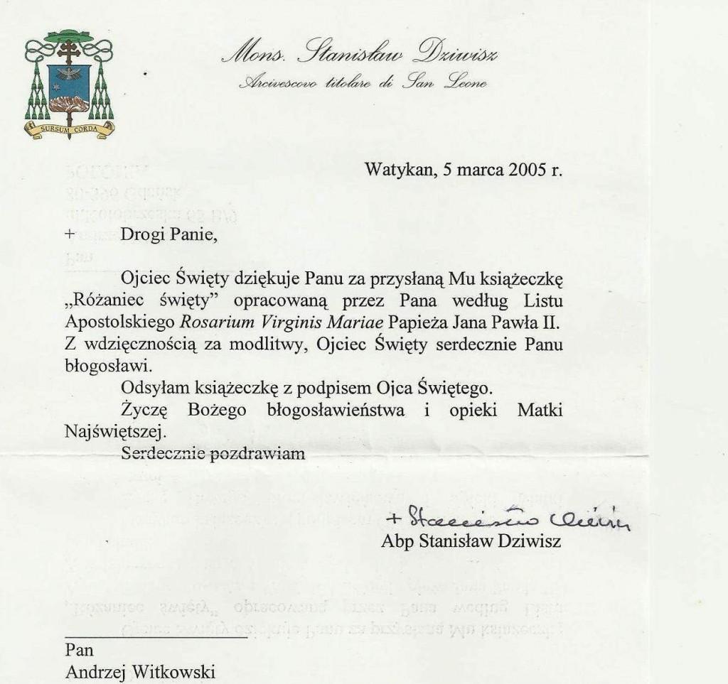 List od abpa S. Dziwisza z 5 marca 2005