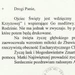 9. Druga strona Kartki świątecznej z listem od abpa S. Dziwisza, z 30 marca 2005 r.