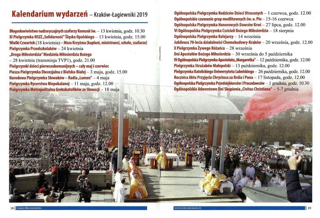 kalendarium wydarzeń - kraków-Łagiewniki 2019