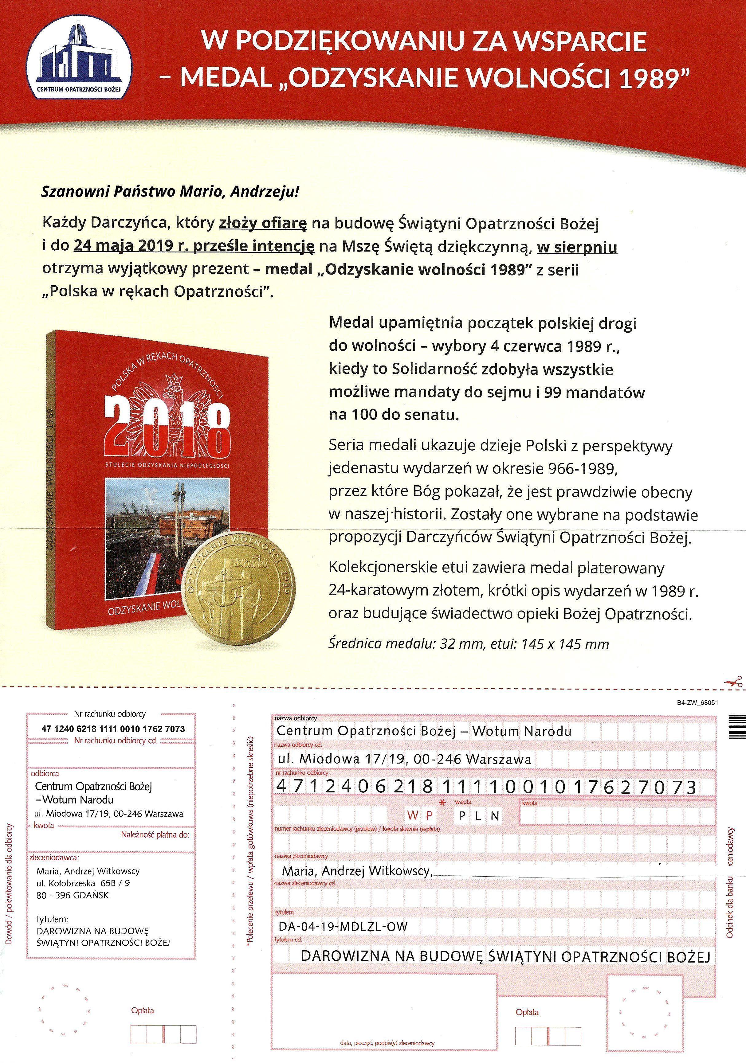 6. informacja o medalu
