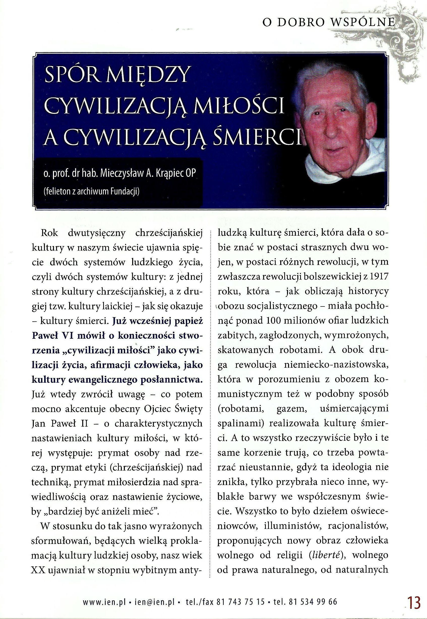 SPÓR MIĘDZY CYWILIZACJĄ MIŁOŚCI A CYWILIZACJĄ ŚMIERCI -NR 45 - 2014-1
