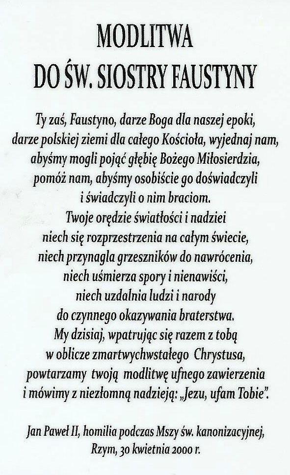2. Modlitwa do św. Siostry Faustyny