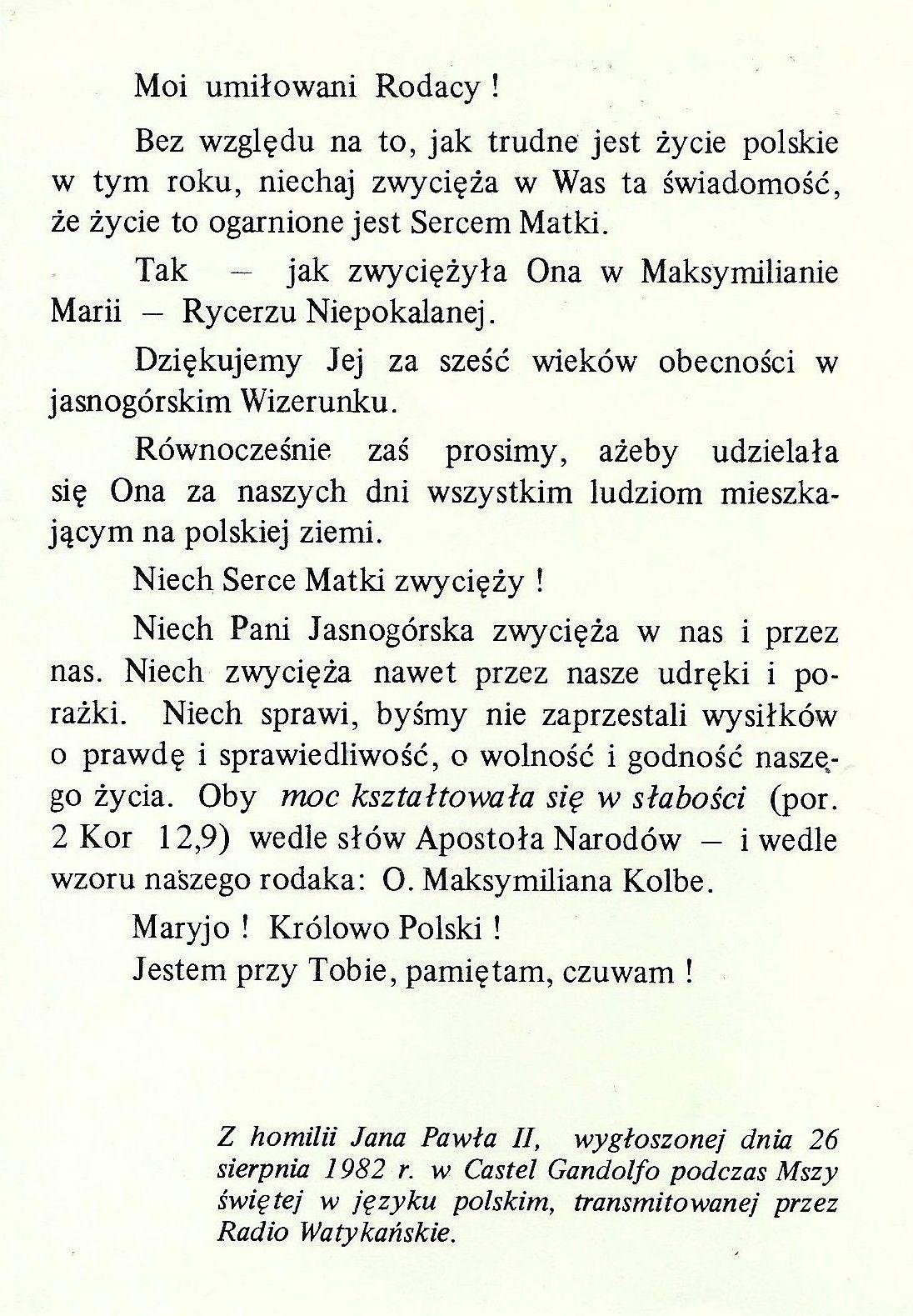 2. wyjątek z homilii JP II z 26.08.1982 r