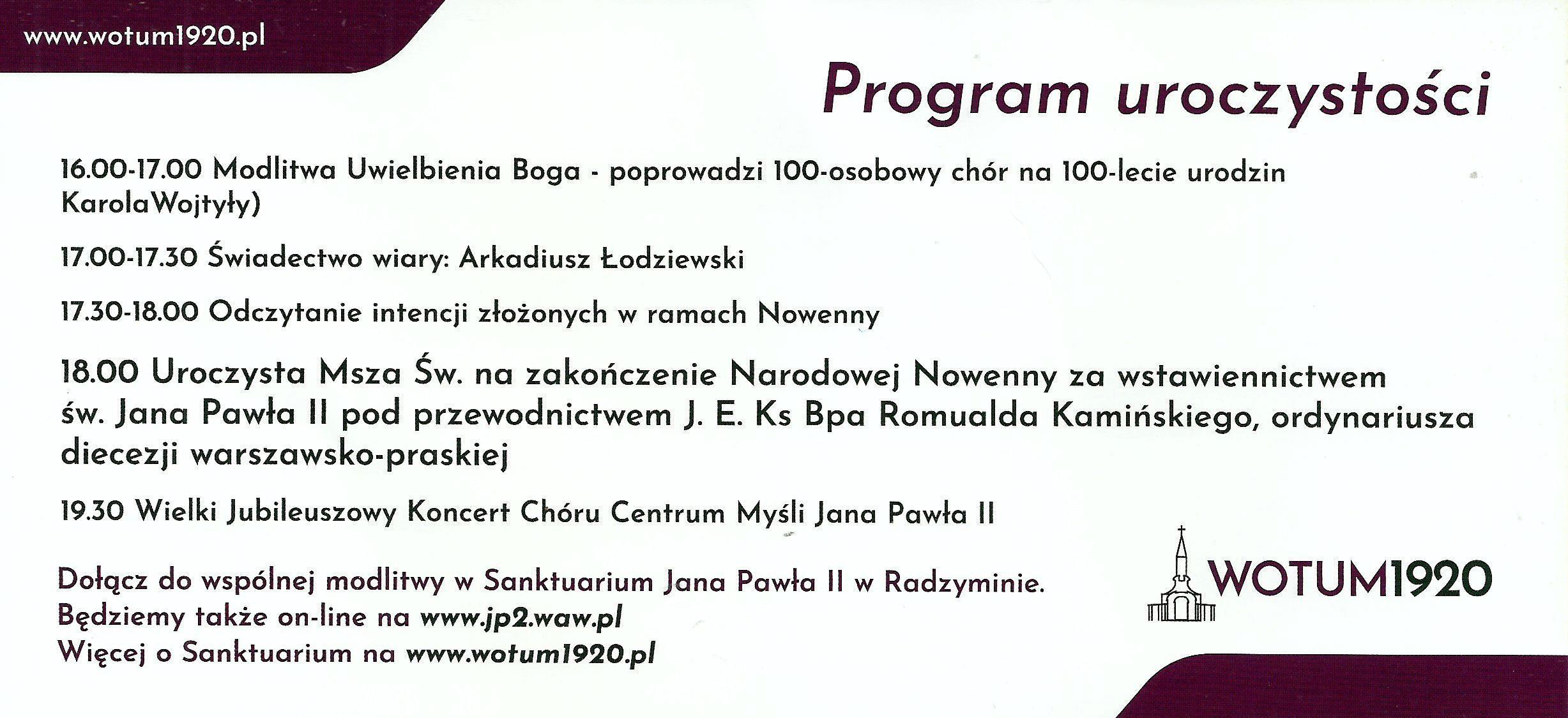8. Program uroczystości