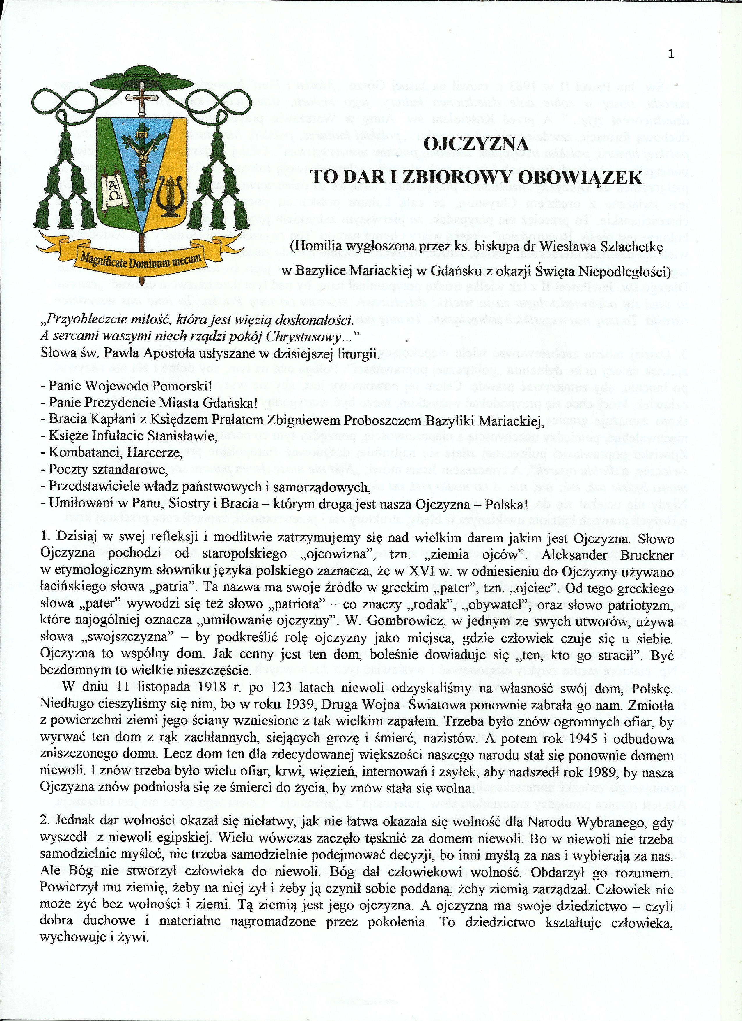 OJCZYZNA TO DAR I ZBIOROWYOBOWIĄZEK - bp Wiesław Szlachetka0001