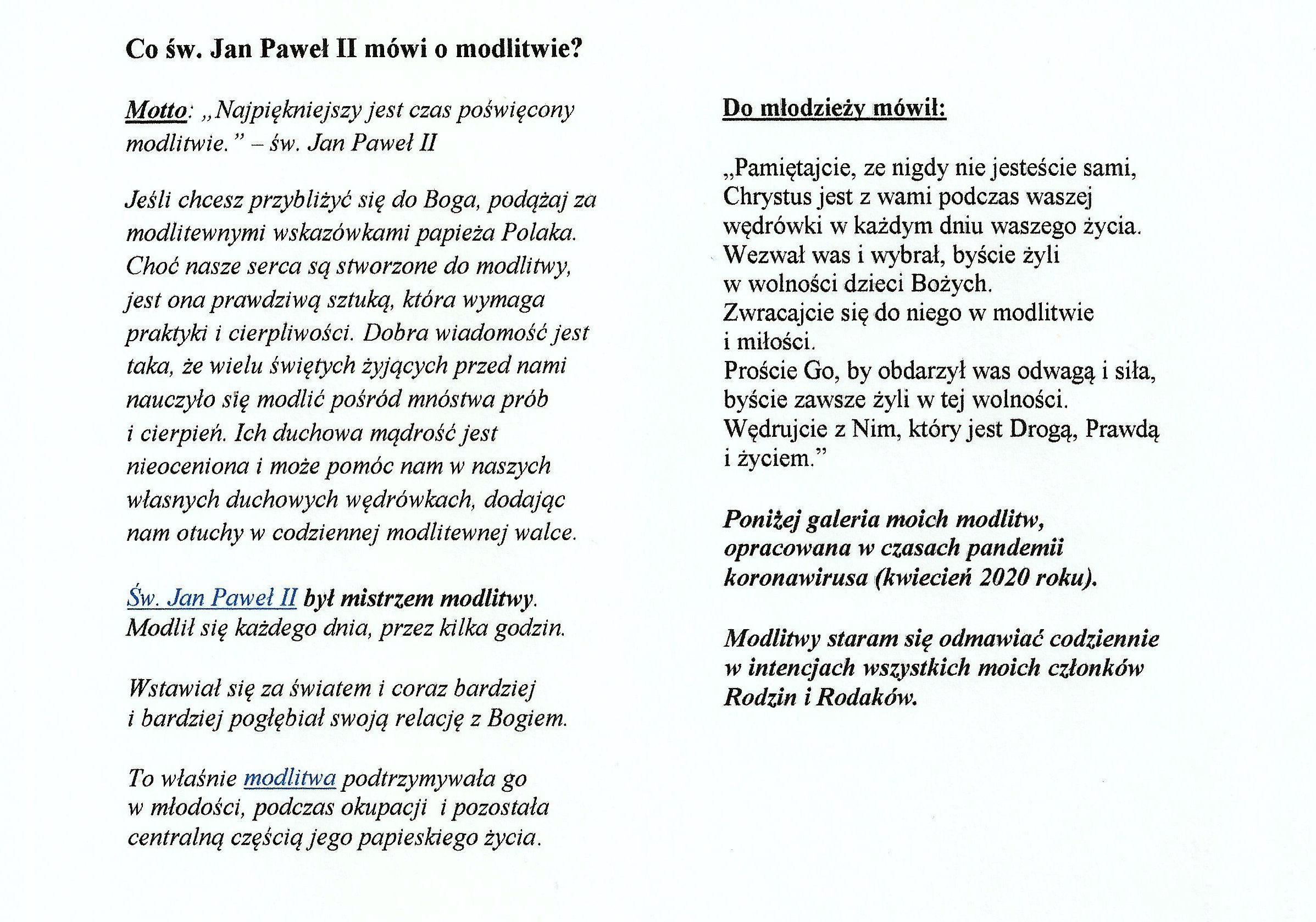 Co św. Jan Paweł II mówi o modlitwie