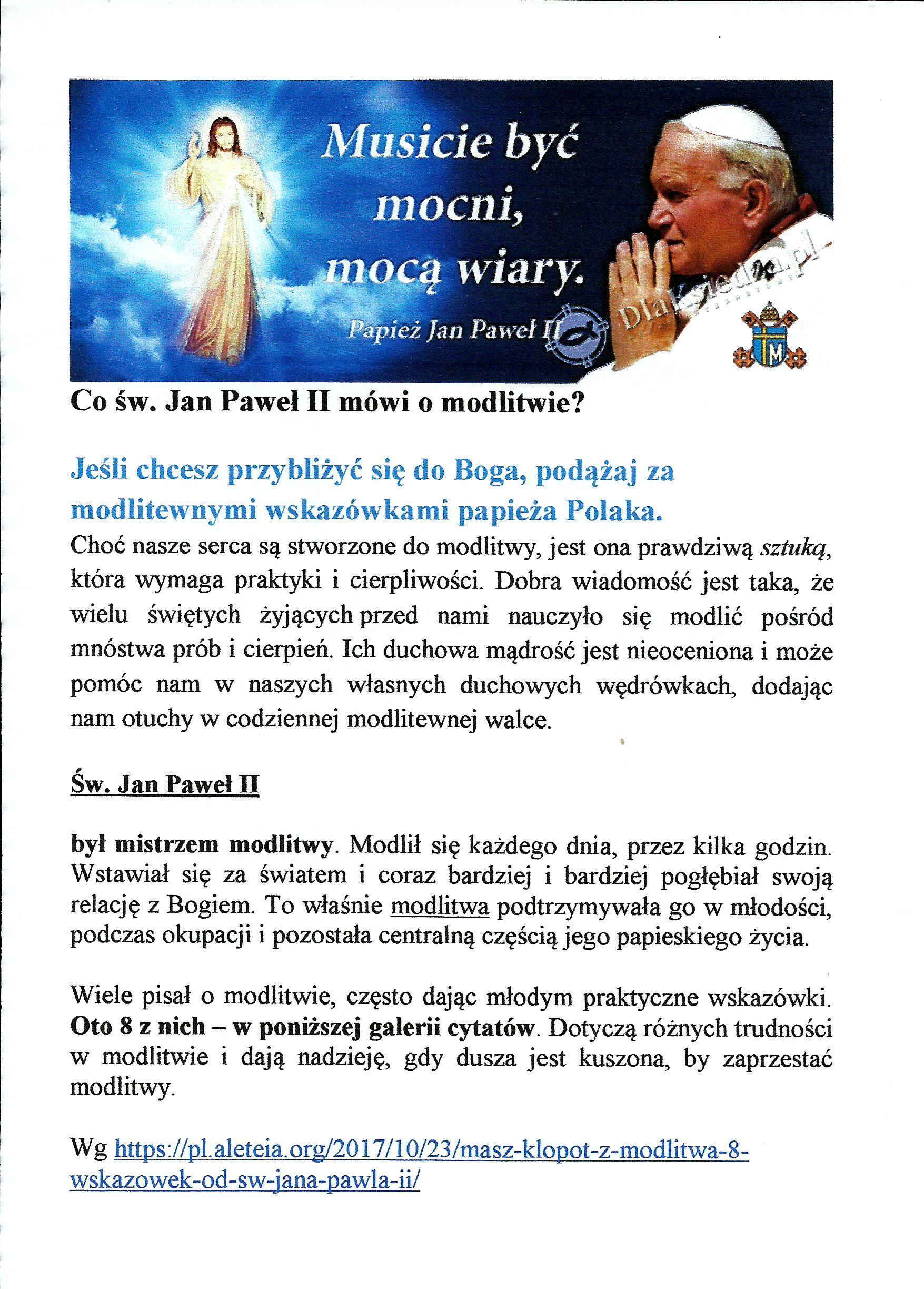 co św. Jan Paweł II mówi o modlitwie0001