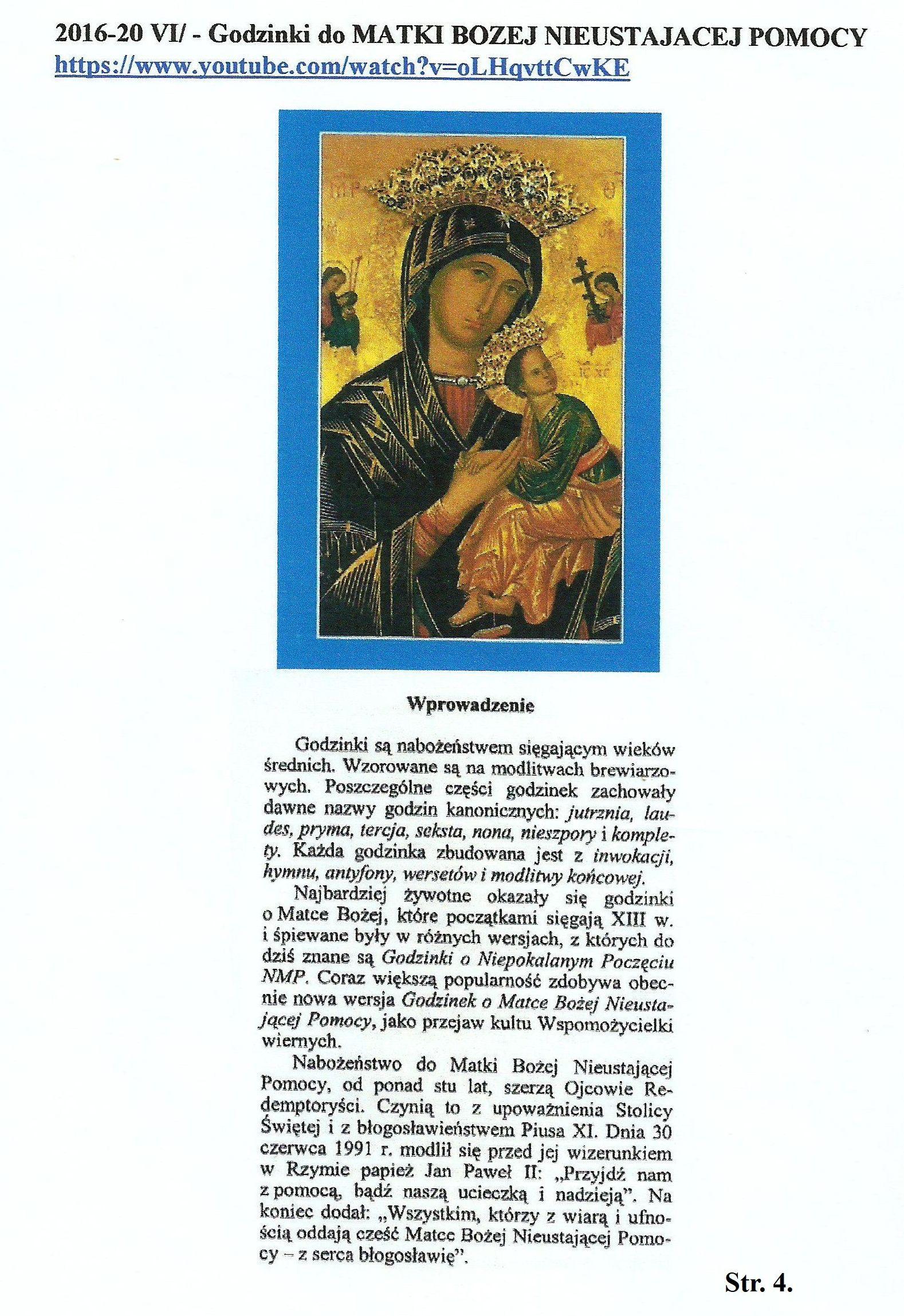 Str. 4 - Godzinki do MB Nieustającej Pomocy